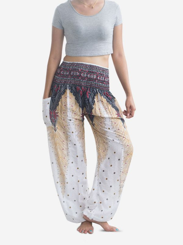 White Peacock Thai Harem Pants