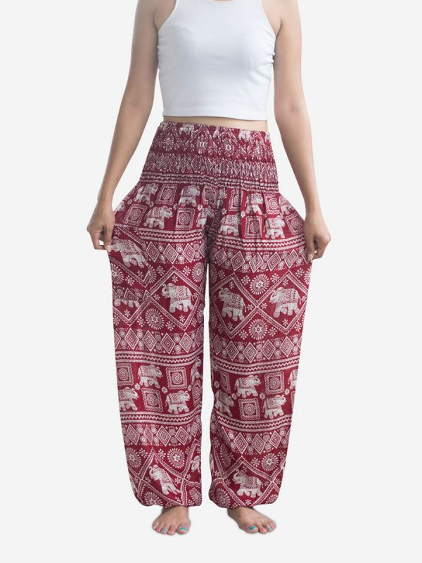 Classic Red Elephant Harem Pants