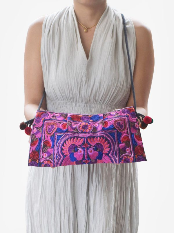 Pink Hmong Hill Tribe Cross Body Clutch Purse