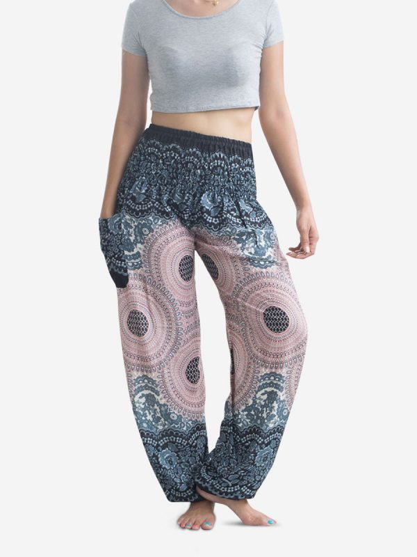 White Spiral Flower Thai Harem Pants