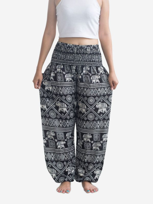 Black Elephant Thai Harem Pants