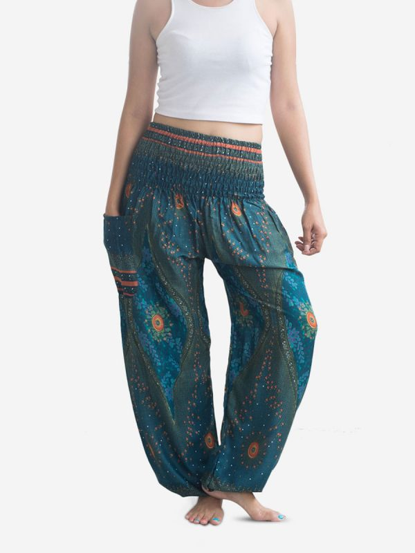 Turquoise Feather Thai Harem Pants