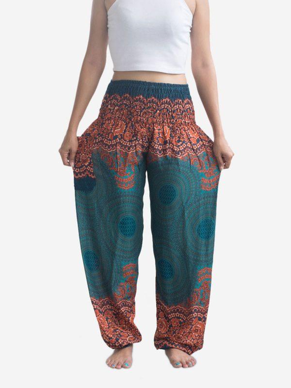 Turquoise Spiral Flower Thai Harem Pants
