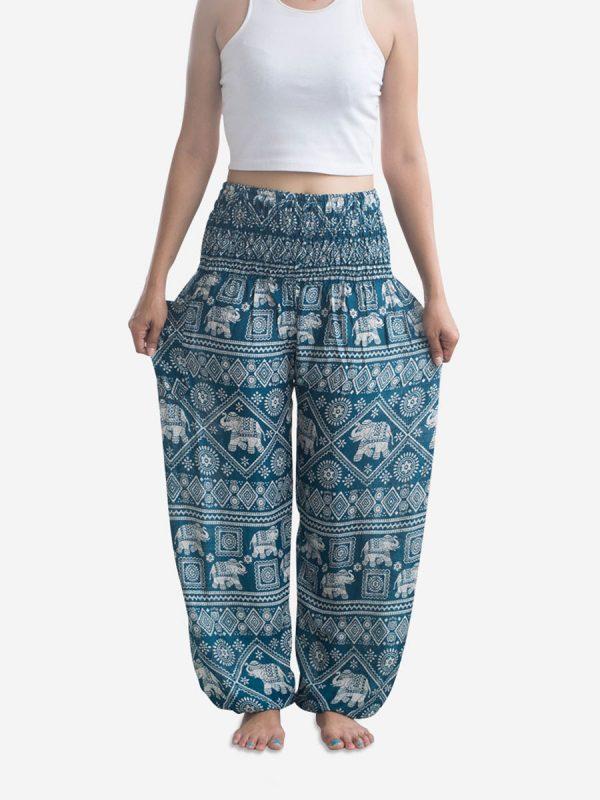 Classic Turquoise Elephant Harem Pants