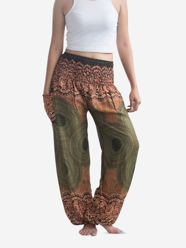 Orange & Green Spiral Thai Harem Pants