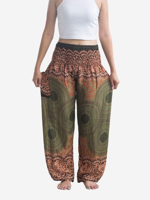 Orange & Green Spiral Thai Harem Pants