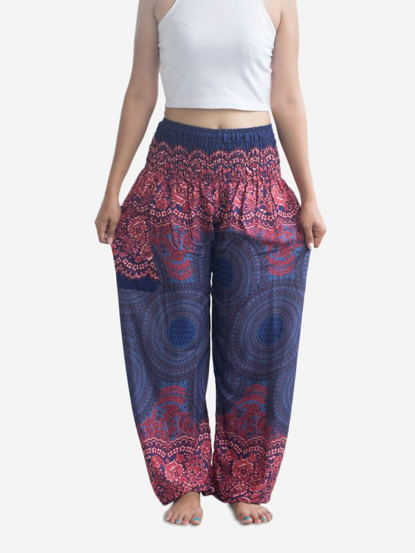 Pink & Blue Spiral Thai Harem Pants