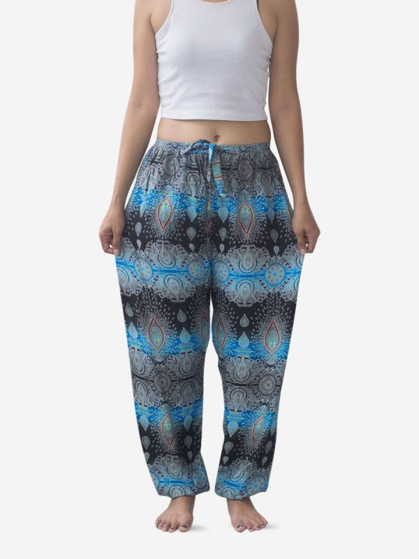 Tie Waist Light Blue Striped Thai Harem Pants