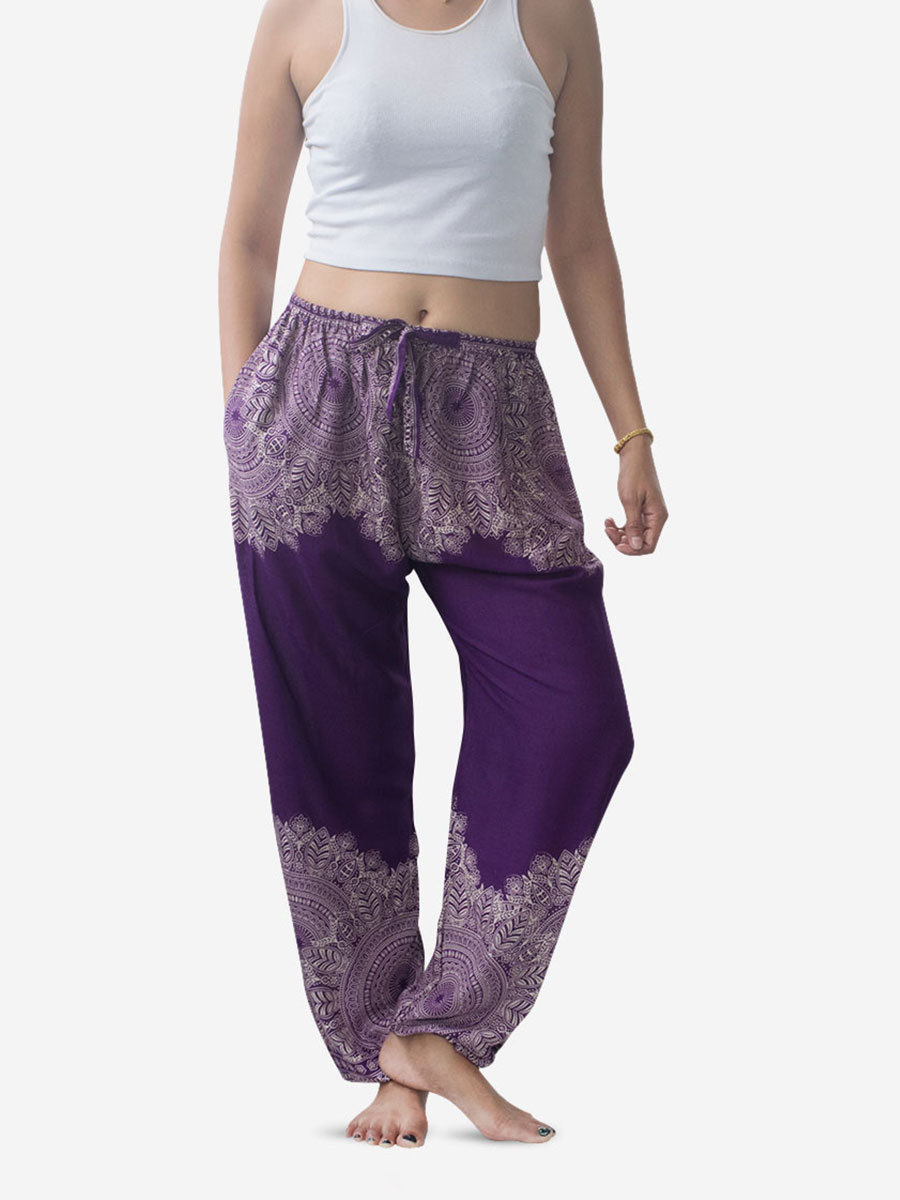 Purple Feather Mandala Harem Pants
