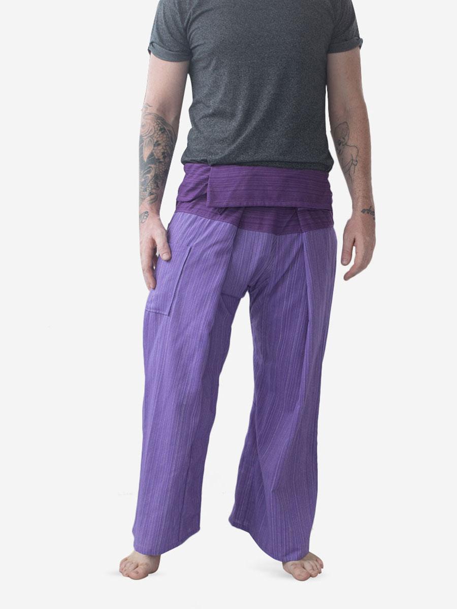 Men's Two Tone Purple Thai Fisherman Pants