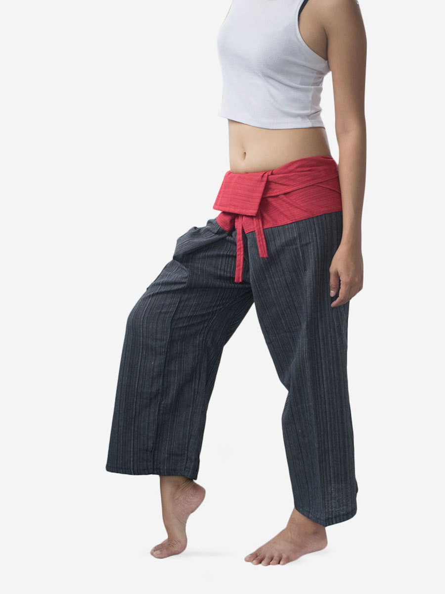 Women's Two Tone Red Thai Fisherman Pants