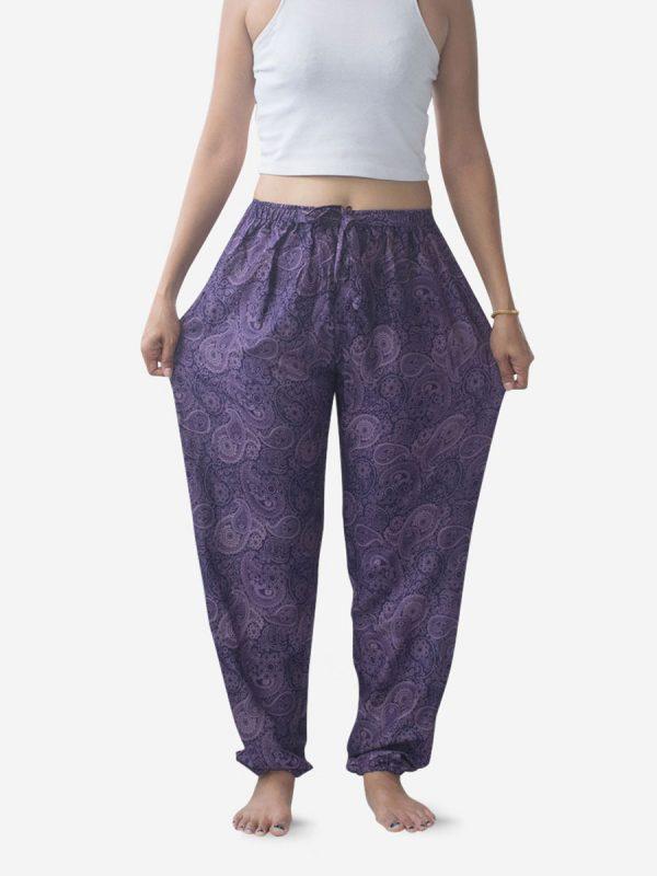 Purple Paisley Thai Harem Pants