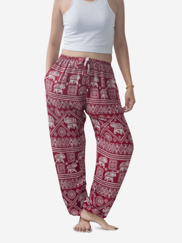 Red Ribbon Elephant Harem Pants