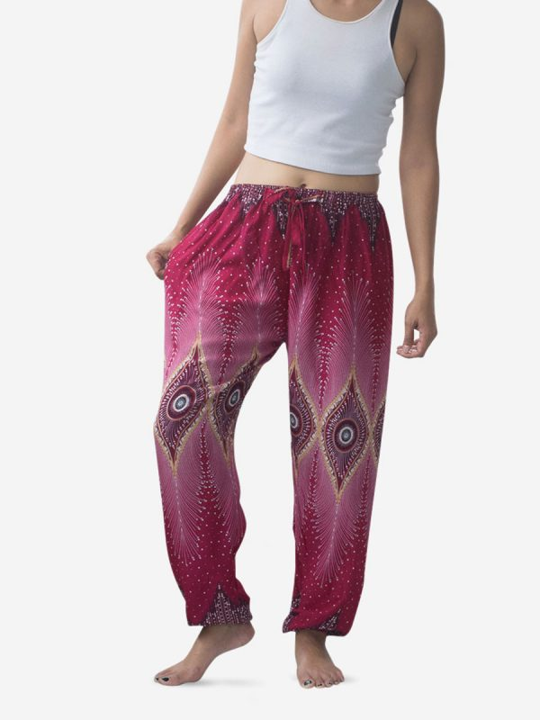 Tie Waist Burgundy & Gold Thai Harem Pants