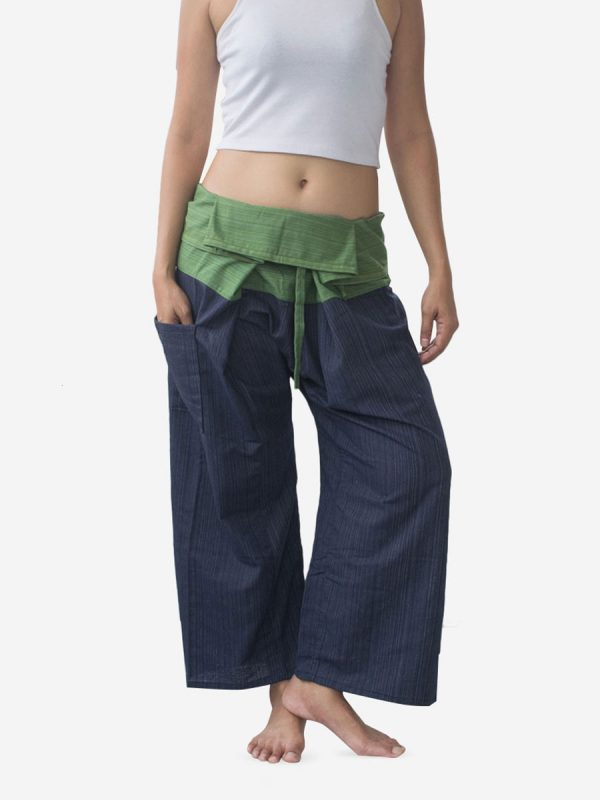 Women's Two Tone Green Thai Fisherman Pants