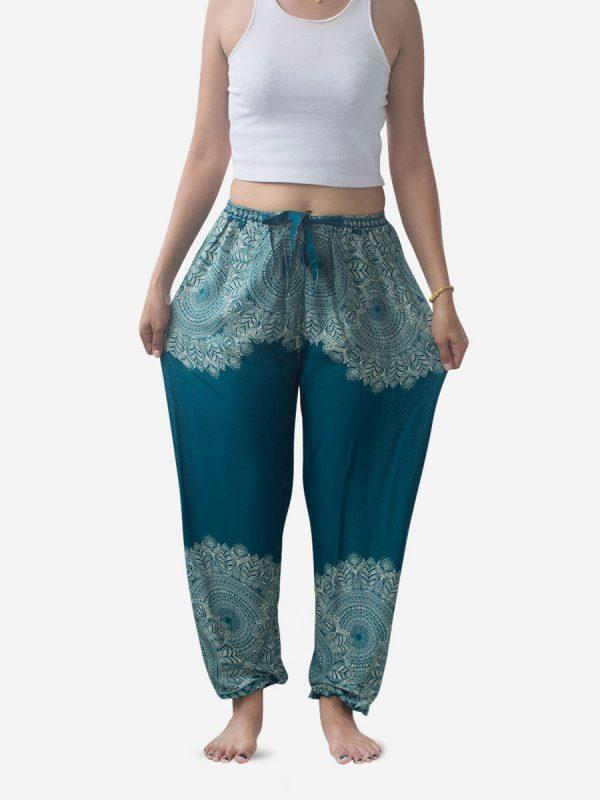 Turquoise Feather Mandala Harem Pants