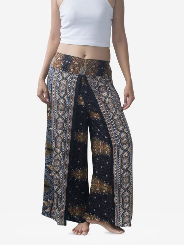 Black & Gold Feather Harem Wrap Palazzo Pants