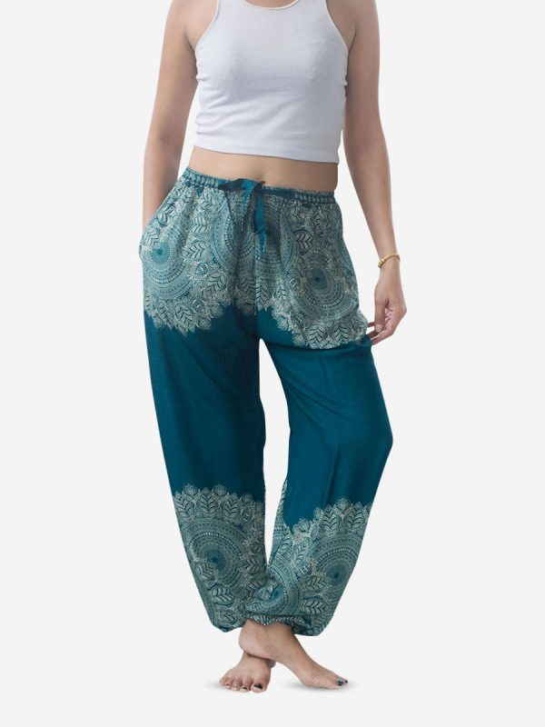 Turquoise Feather Mandala Harem Pants