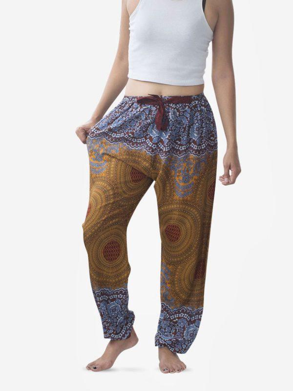 Tie Waist Golden Brown Spiral Harem Pants