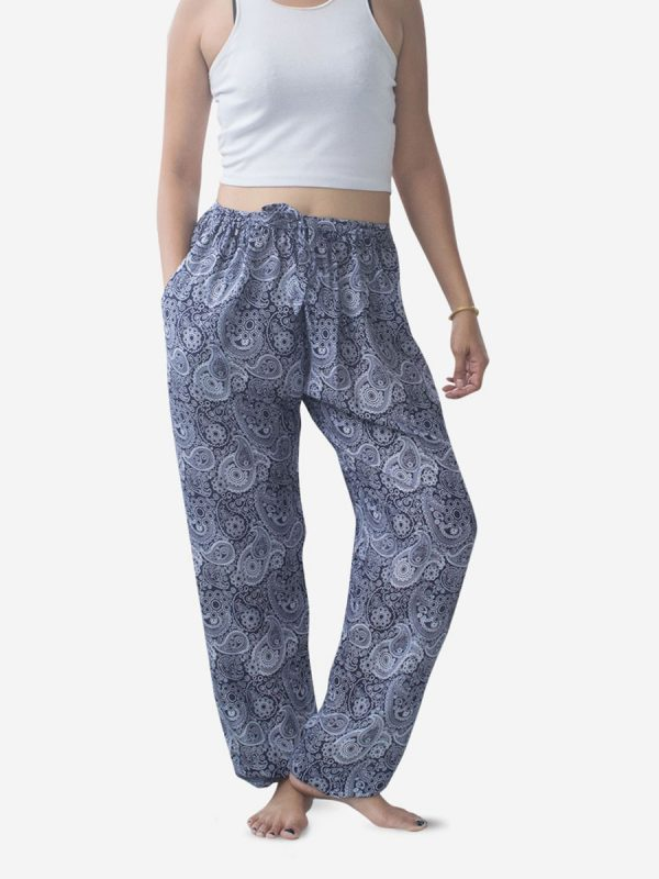 Blue Paisley Thai Harem Pants