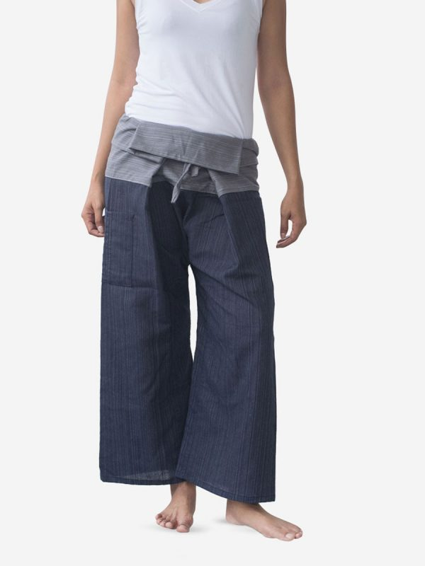 Women's Two Tone Navy Grey Thai Fisherman Pants