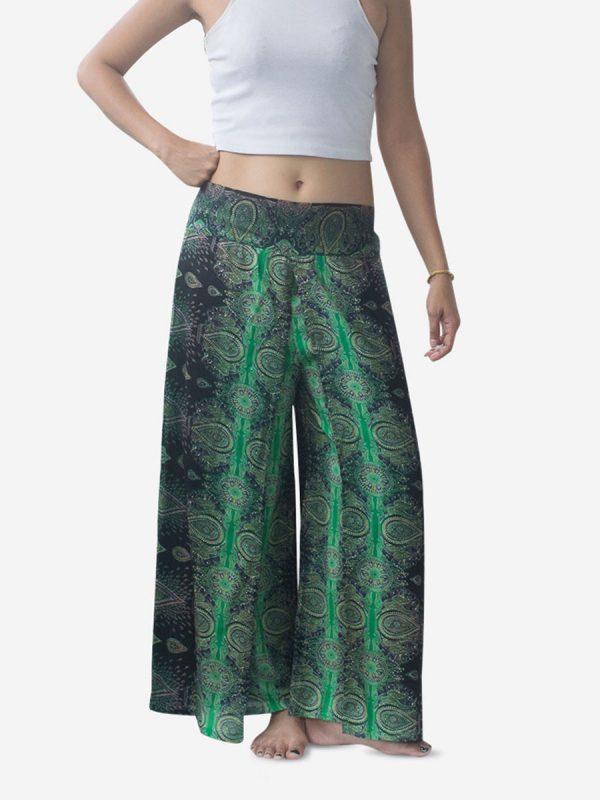 Green Teardrop Harem Wrap Palazzo Pants