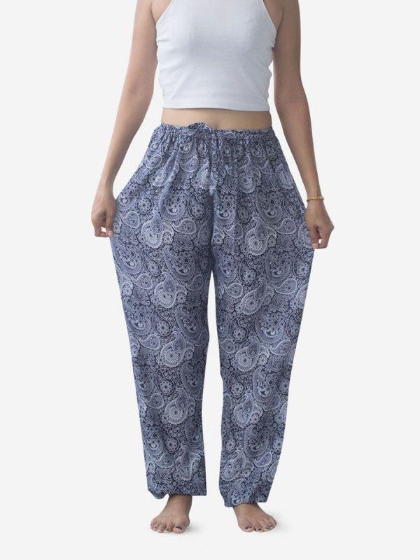 Blue Paisley Thai Harem Pants