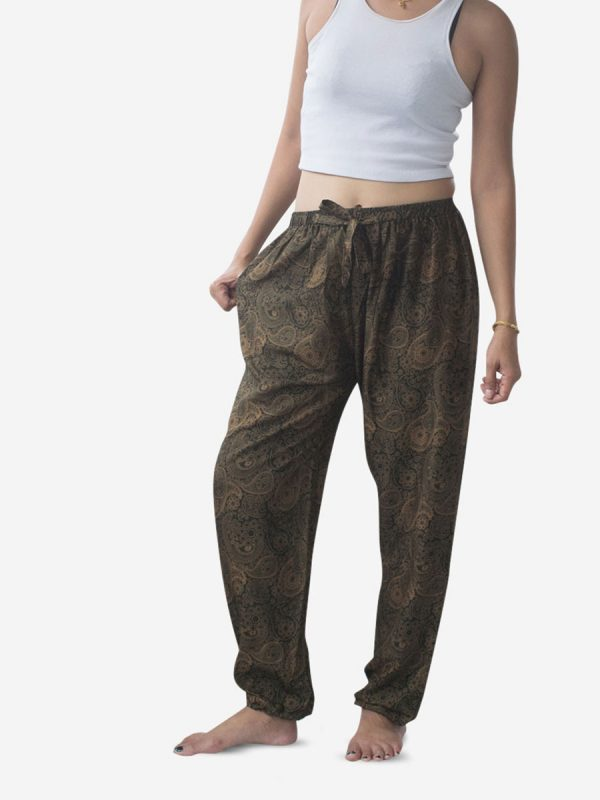 Leaf Green Paisley Thai Harem Pants