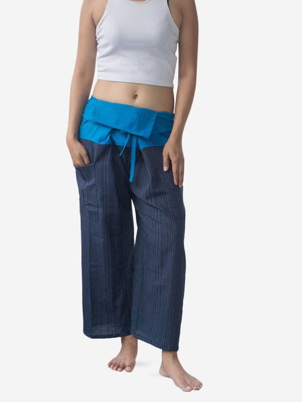 Women's Two Tone Blue Thai Fisherman Pants