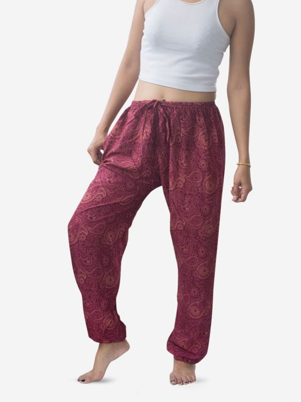 Burgundy Paisley Thai Harem Pants