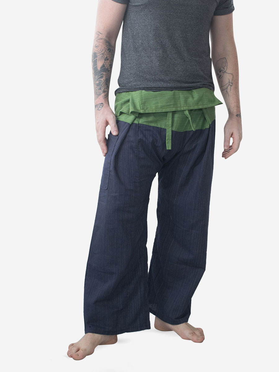 Men's Two Tone Green Thai Fisherman Pants