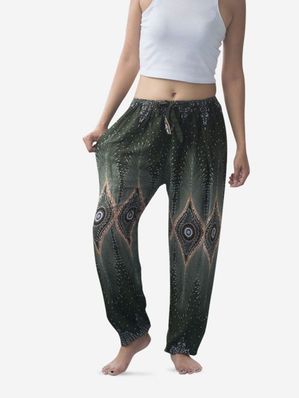 Tie Waist Leaf Green & Gold Thai Harem Pants