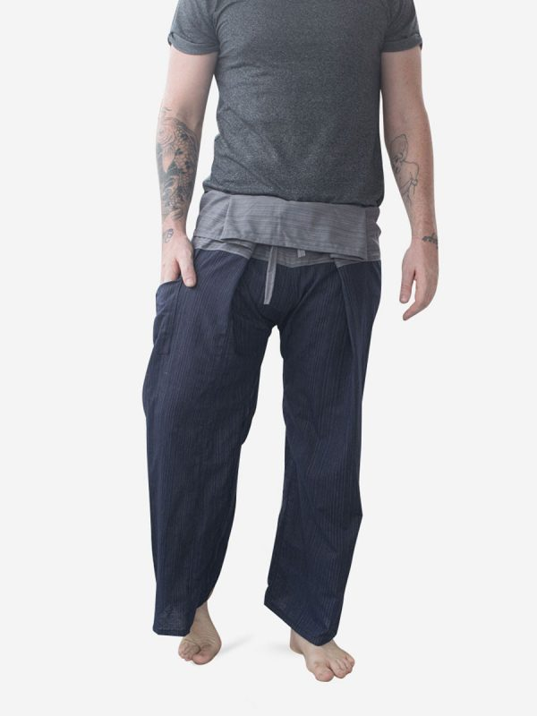 Men's Two Tone Navy Grey Thai Fisherman Pants