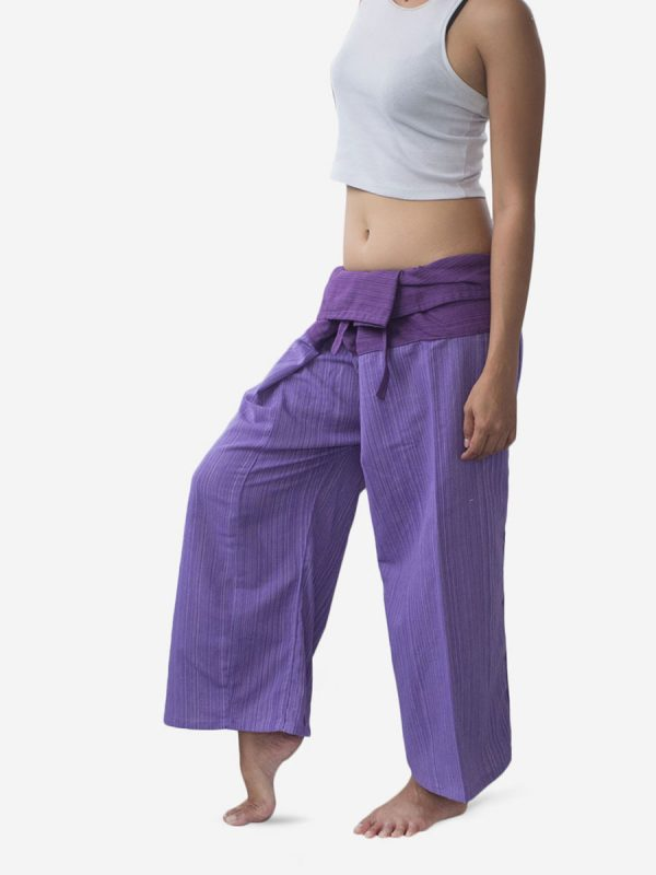 Women's Two Tone Purple Thai Fisherman Pants