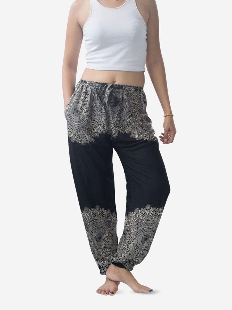 Black Feather Mandala Harem Pants
