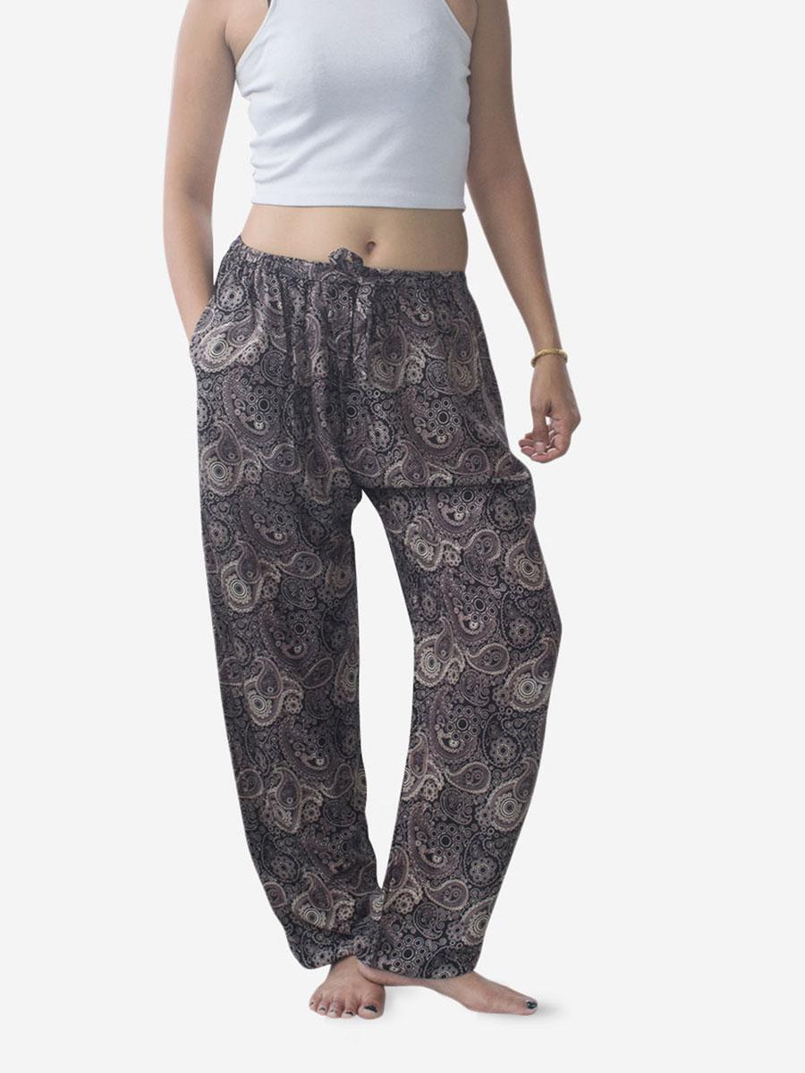 Brown Paisley Thai Harem Pants