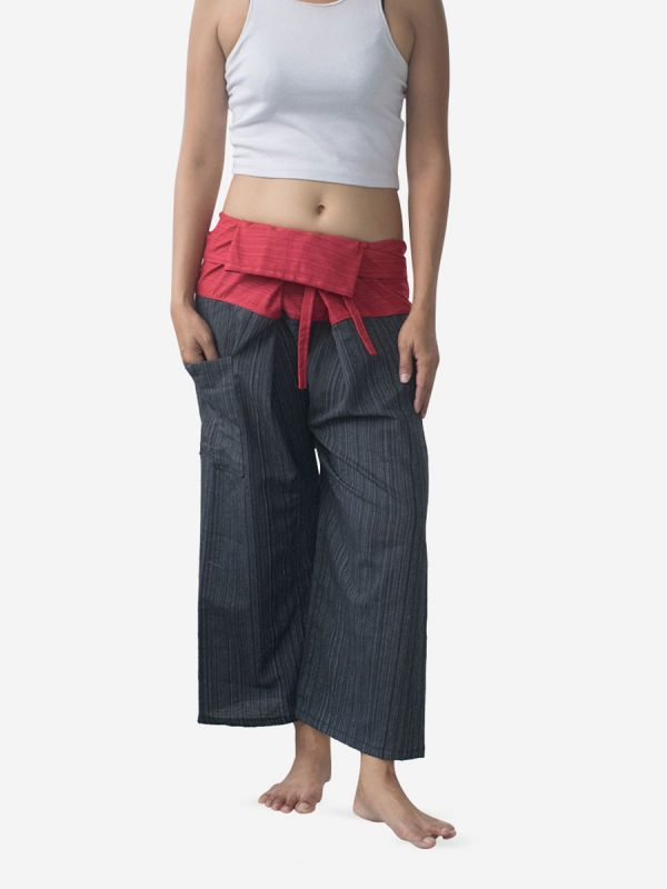 Women's Two Tone Red Thai Fisherman Pants