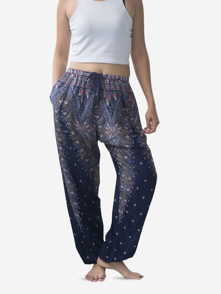 Tie Waist Deep Blue Peacock Harem Pants