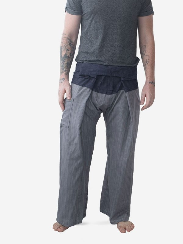 Men's Two Tone Grey Thai Fisherman Pants