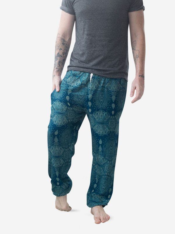 Turquoise Raindrop Men's Harem Pants