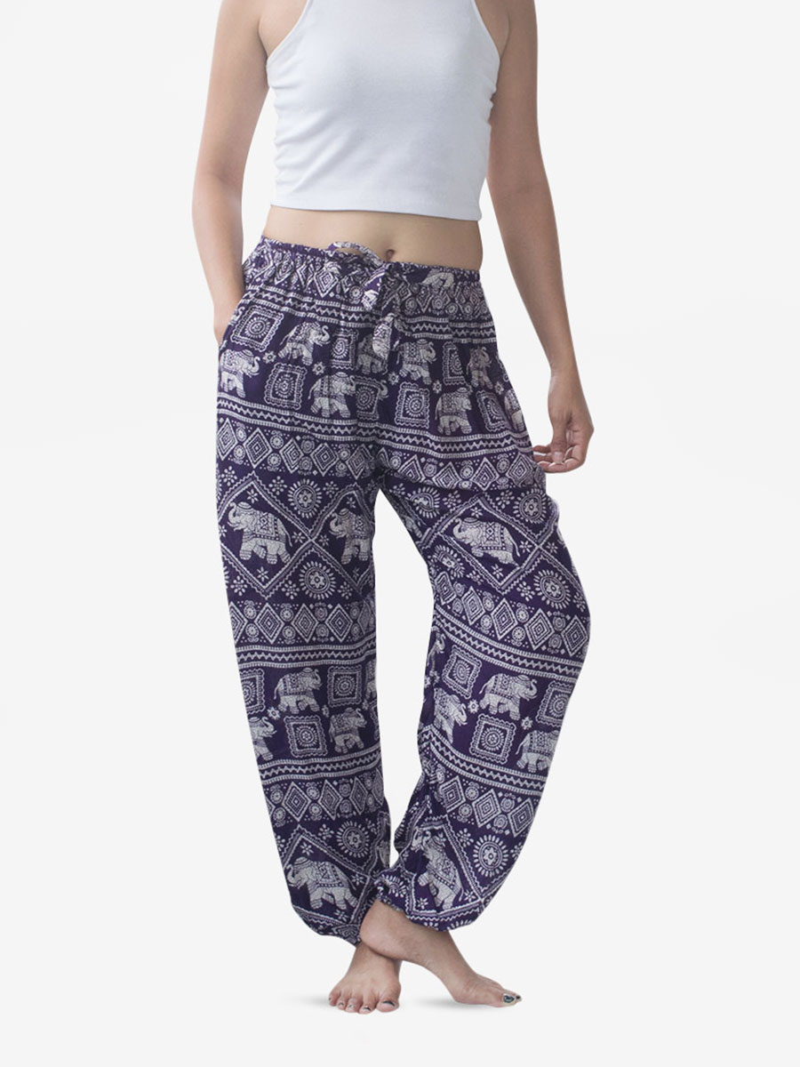 Tie Waist Purple Elephant Harem Pants