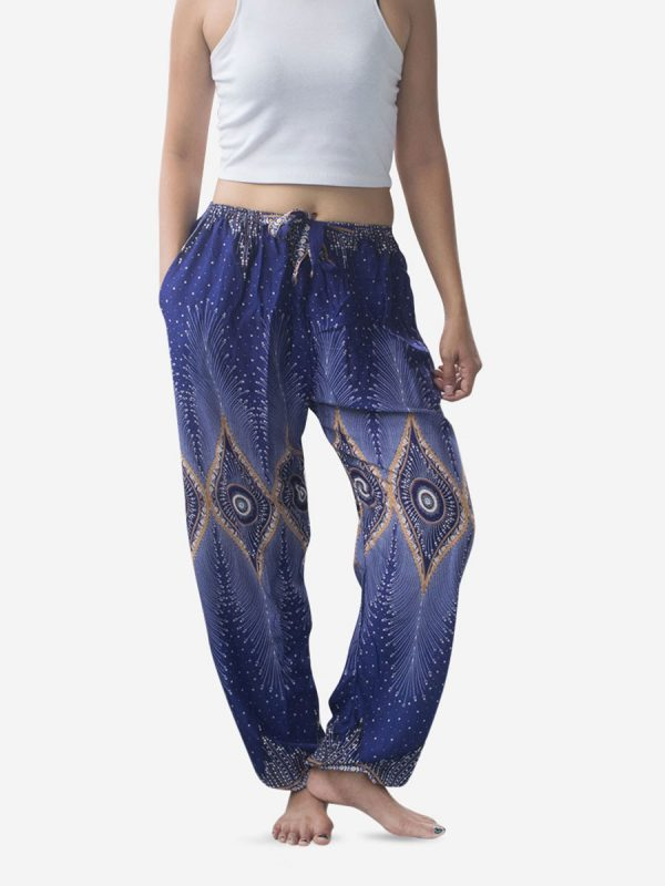 Tie Waist Gold & Blue Thai Harem Pants