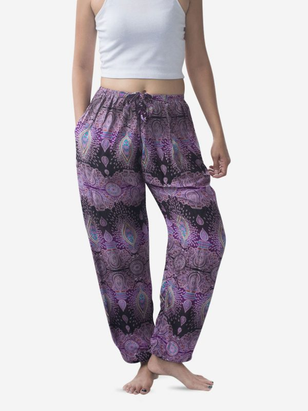 Tie Waist Teardrop Purple Thai Harem Pants