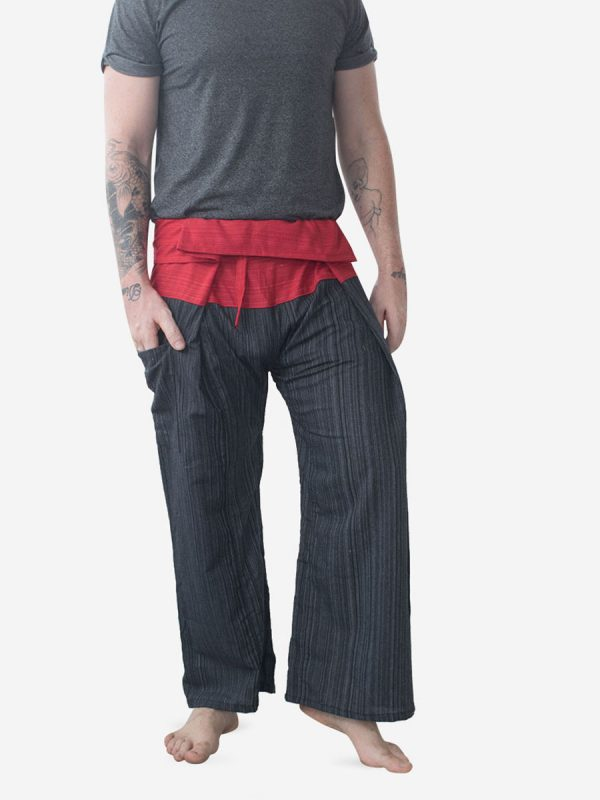 Men's Two Tone Red Thai Fisherman Pants