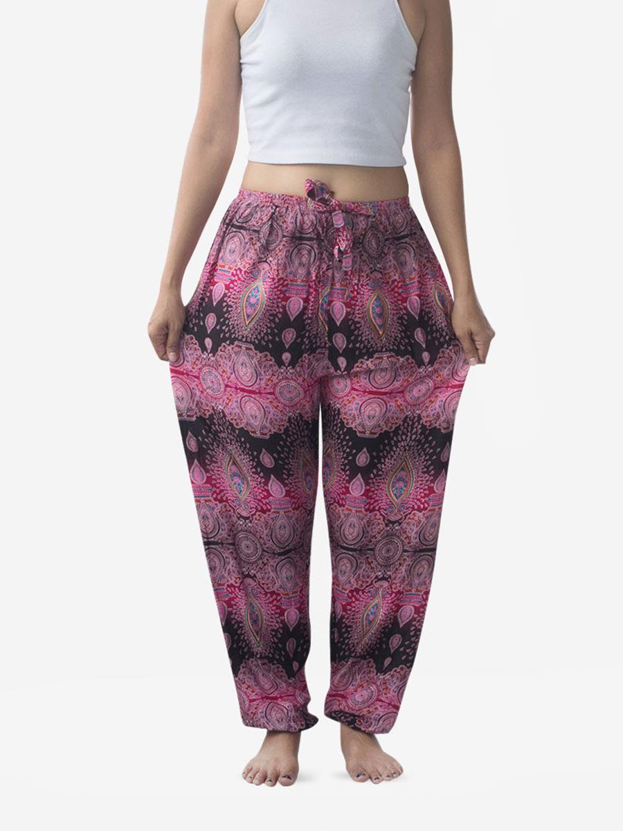 Tie Waist Teardrop Pink Thai Harem Pants