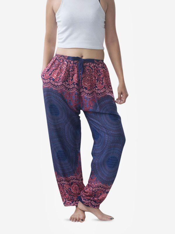 Tie Waist Pink & Blue Spiral Harem Pants