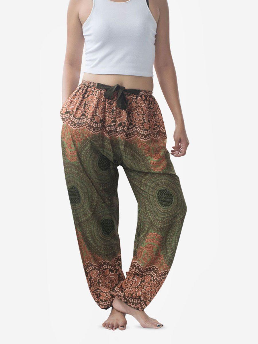Tie Waist Green Spiral Flower Harem Pants