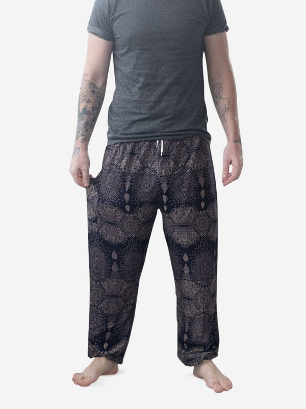 Men's Navy Raindrop Thai Harem Pants