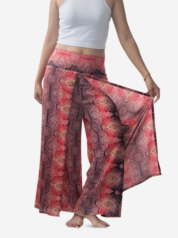 Bright Red Teardrop Palazzo Wrap Pants