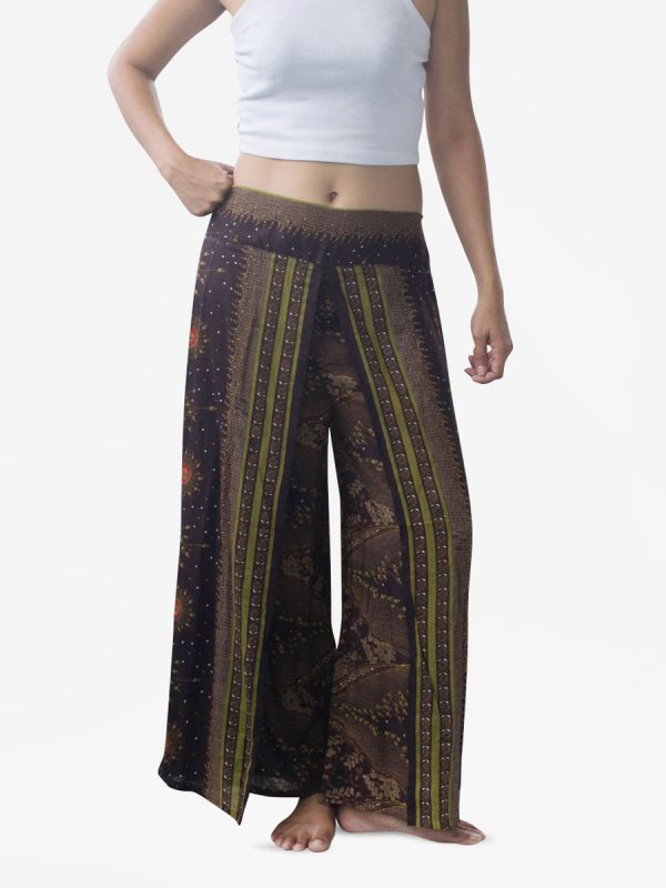 Brown Feather Harem Wrap Palazzo Pants